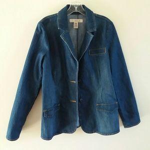 Route 66 Women's Button-Down  Denim Blazer Jacket